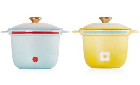 藍黃色的le creuset 與哆啦a夢聯名廚具