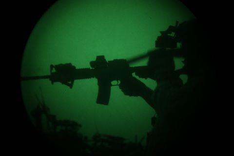 Gun, Underwater, Underwater diving, Gunshot, Recreation, Airsoft, Scuba diving, Photography, Darkness, Personal protective equipment,