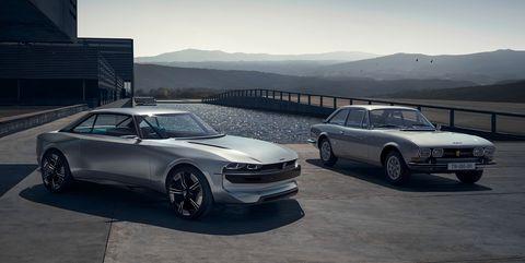 Peugeot e-Legend concept and Peugeot 504 coupe
