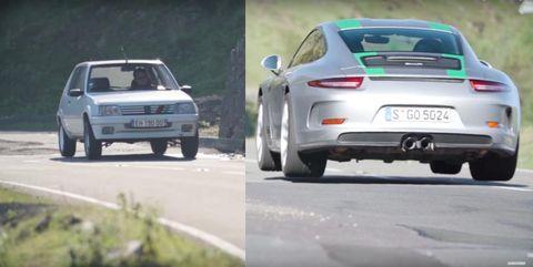 Porsche 911R versus Peugeot 205 Rallye