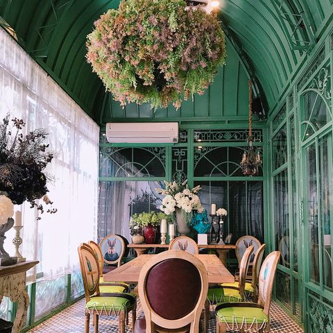 Green, Interior design, Room, Architecture, Building, Botany, Tree, Furniture, Ceiling, House,