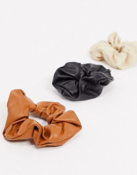 asos my accessories london exclusive scrunchie 3 x multipack in multi faux leathe