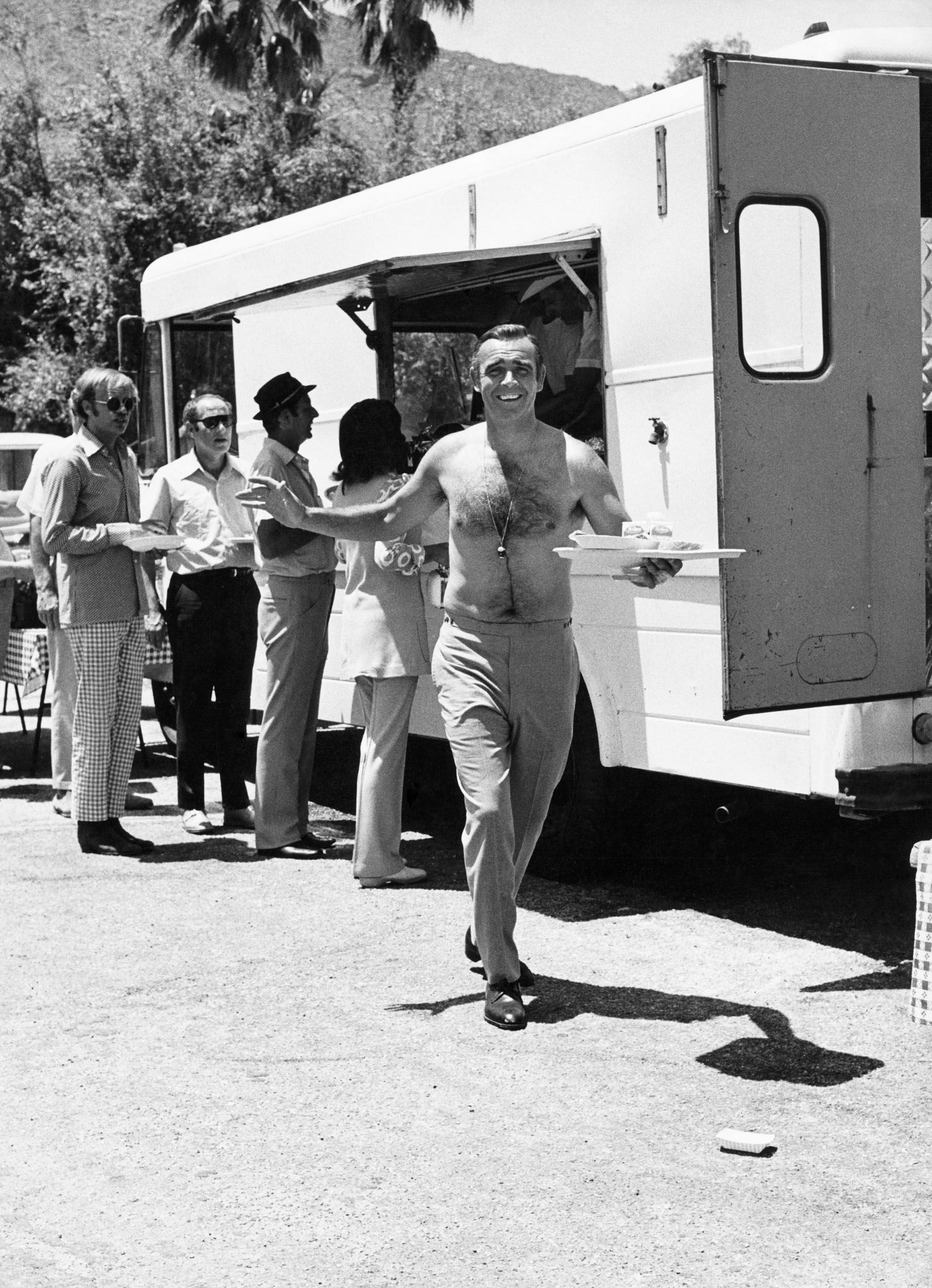 Sean Connery takes a lunch break from filming Diamonds Are Forever.