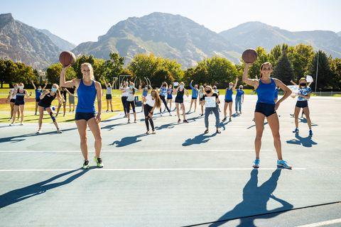 byu women's track team observes the basketball mile world record
