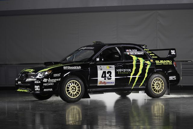 ken block's 2002 subaru wrx sti rally car, currently listed for sale at wall street motorsport