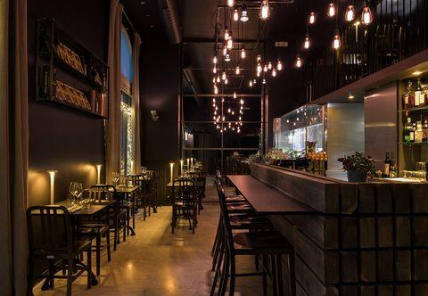 Restaurant, Building, Lighting, Bar, Architecture, Interior design, Café, Night, Room, Coffeehouse,
