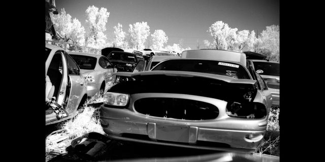 2004 buick lesabre photographed in infrared in a junkyard