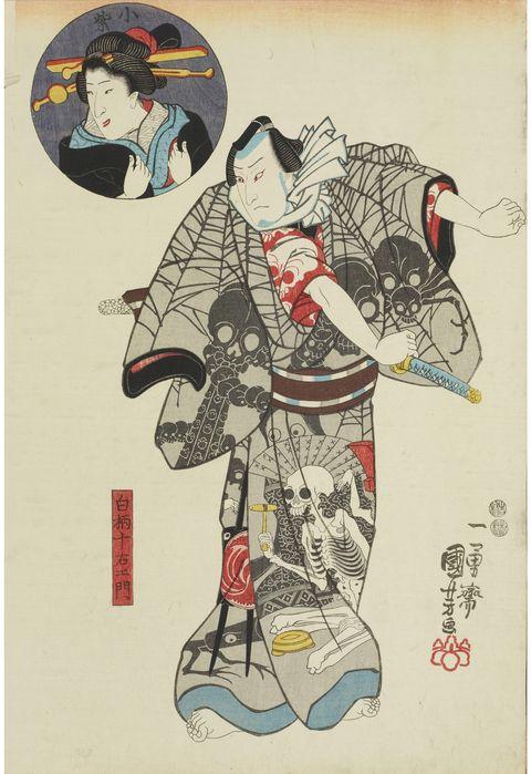 和装男子 歌川国芳「小紫 白柄十右エ門」