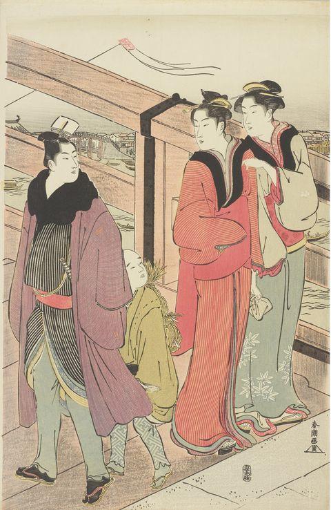 和装男子 勝川春潮「橋上の行会」