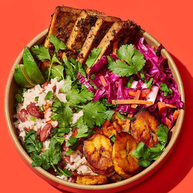 vegan jerk tofu grain bowls delish