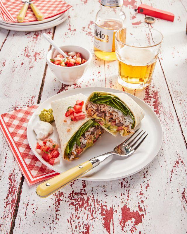easy weeknight veggie and bean burritos
