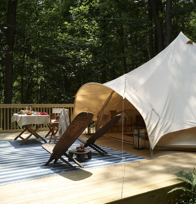 tent, outdoor chairs and tables