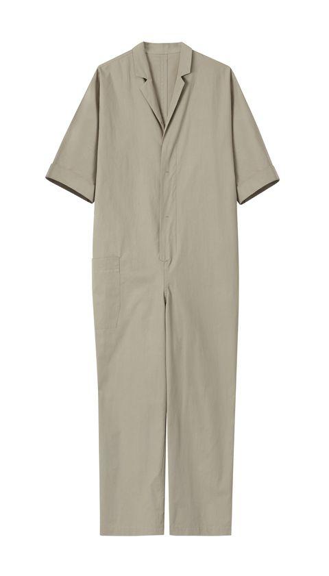 Clothing, Sleeve, Outerwear, Collar, Workwear, Uniform, Dress, Rain suit, Beige, Button,