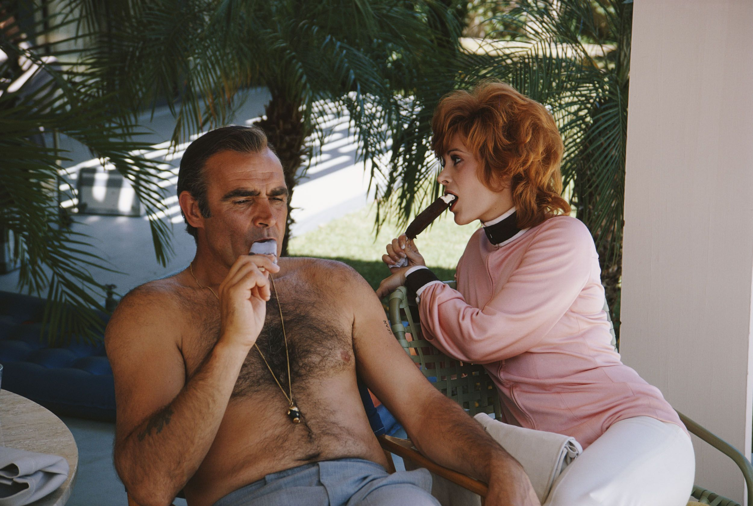 Sean Connery and actress Jill St. John relax on the set of the Diamonds Are Forever.