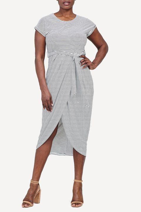 Multi Stripe Wrap Midi Dress