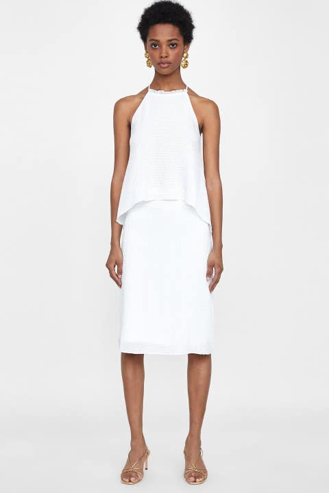 Clothing, Fashion model, Dress, White, Day dress, Cocktail dress, Neck, Fashion, Shoulder, Sheath dress,