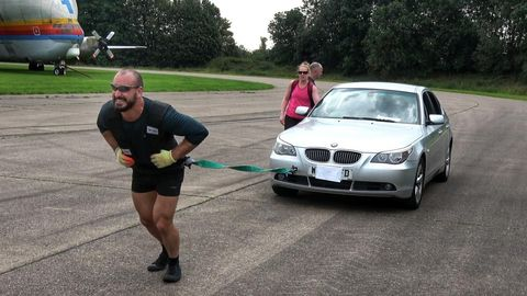 Former Royal Marine pulls a 1.7 tonne car for a marathon