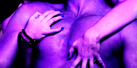 Purple, Blue, Hand, Finger, Violet, Human, Nail, Gesture, Lip, Joint,