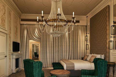 Chandelier, Light fixture, Ceiling, Room, Lighting, Interior design, Furniture, Property, Living room, Curtain,