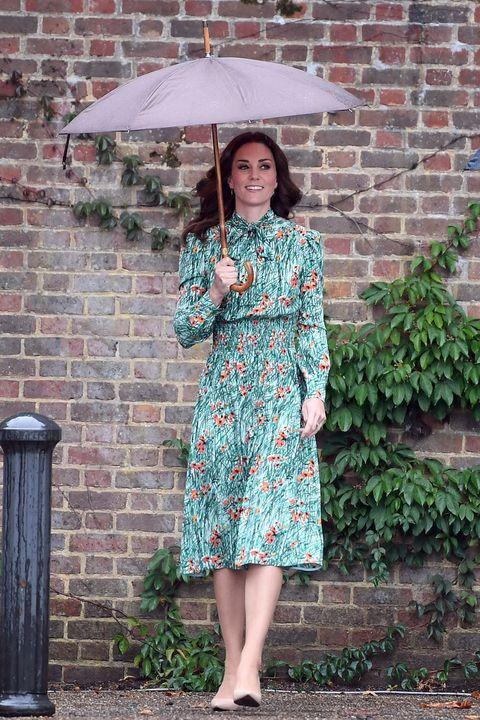 Clothing, Umbrella, Green, Dress, Pink, Street fashion, Turquoise, Outerwear, Fashion, Shoulder,