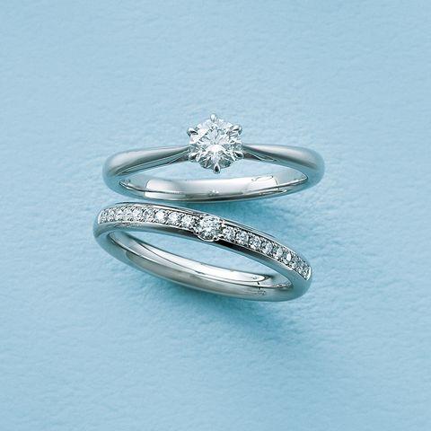 ラザール ダイヤモンド「レヴァランス」エンゲージリングと「アプローズ」マリッジリング