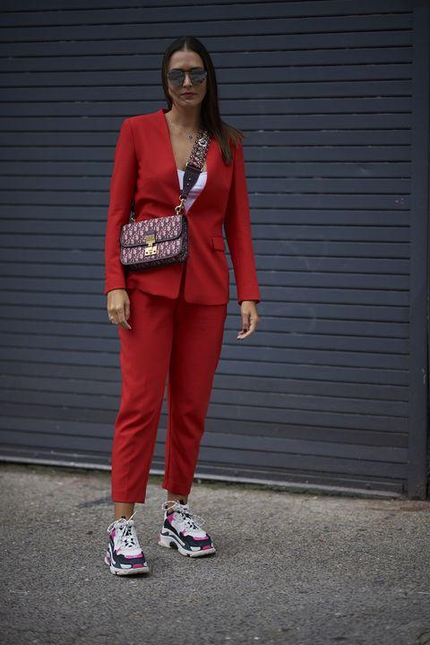 Clothing, Red, Street fashion, Pink, Fashion, Footwear, Outerwear, Shoe, Blazer, Sportswear,