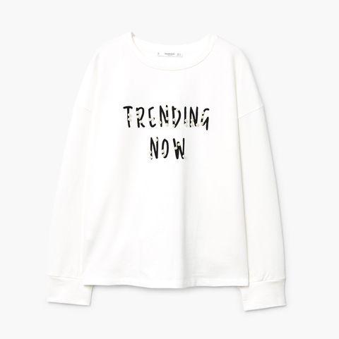 Clothing, White, Sleeve, Long-sleeved t-shirt, Text, T-shirt, Crop top, Top, Outerwear, Shirt,