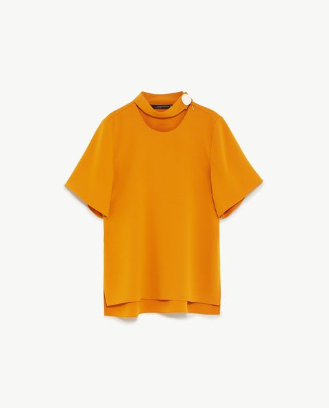 Clothing, Orange, Yellow, T-shirt, Sleeve, Blouse, Neck, Outerwear, Top, Active shirt,