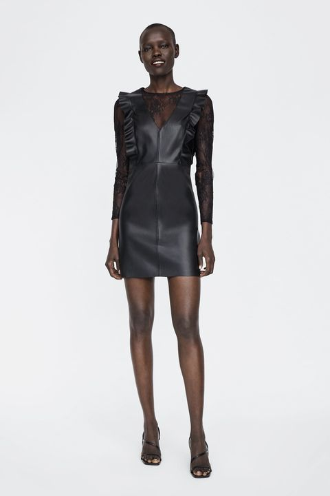 Clothing, Fashion model, Fashion, Standing, Shoulder, Leather, Dress, Cocktail dress, Human, Joint,