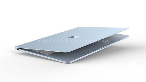 藍色和綠色的macbook air