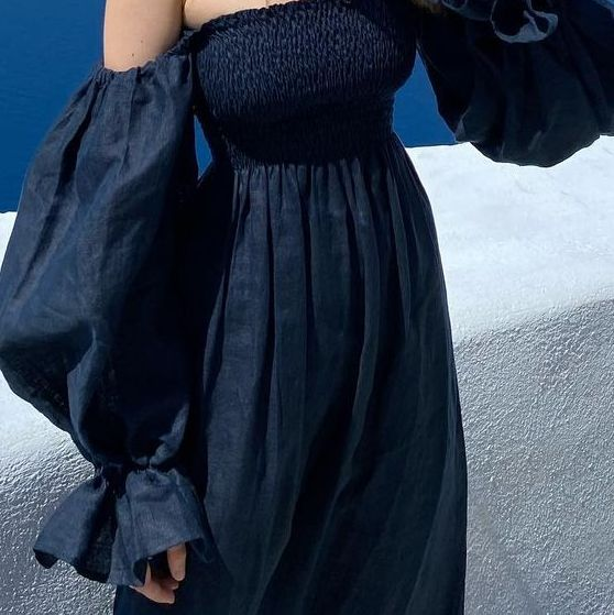 vestido midi negro abullonado en remate total del corte inglés
