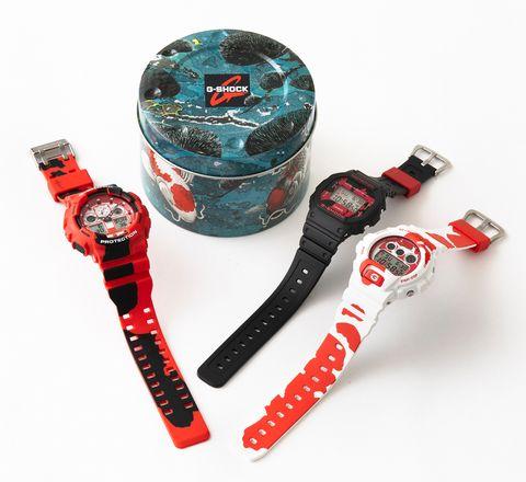 gshock紅黑白色的錦鯉錶