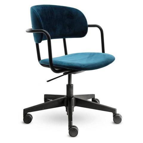 24designs homework velvet bureaustoel   fluweel petrol   zwarte