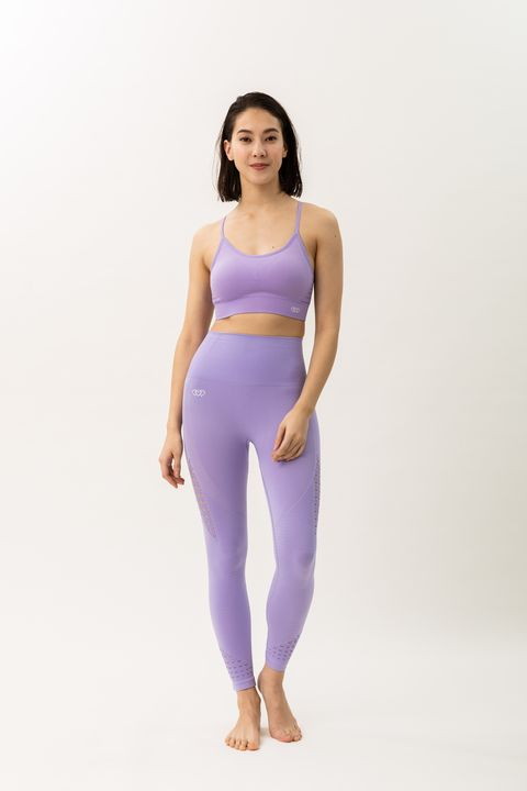 Clothing, Waist, Purple, Shoulder, Sportswear, Violet, Leg, Lavender, Leggings, Active pants,