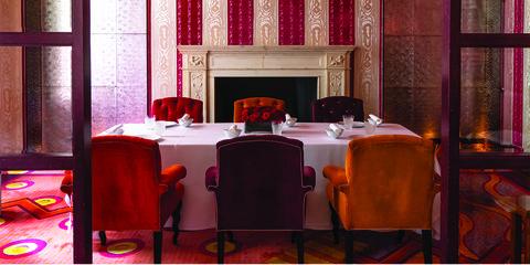 Room, Red, Furniture, Interior design, Table, Restaurant, Building, Suite, Textile, Chair,