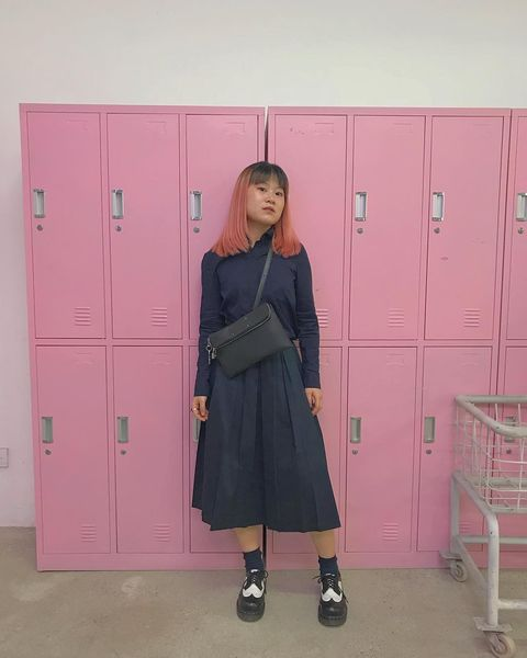 Pink, Standing, Shoulder, Locker,