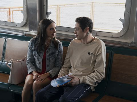 "from left kelsey bel powley and scott carlin pete davidson in ""the king of staten island,"" directed by judd apatow"