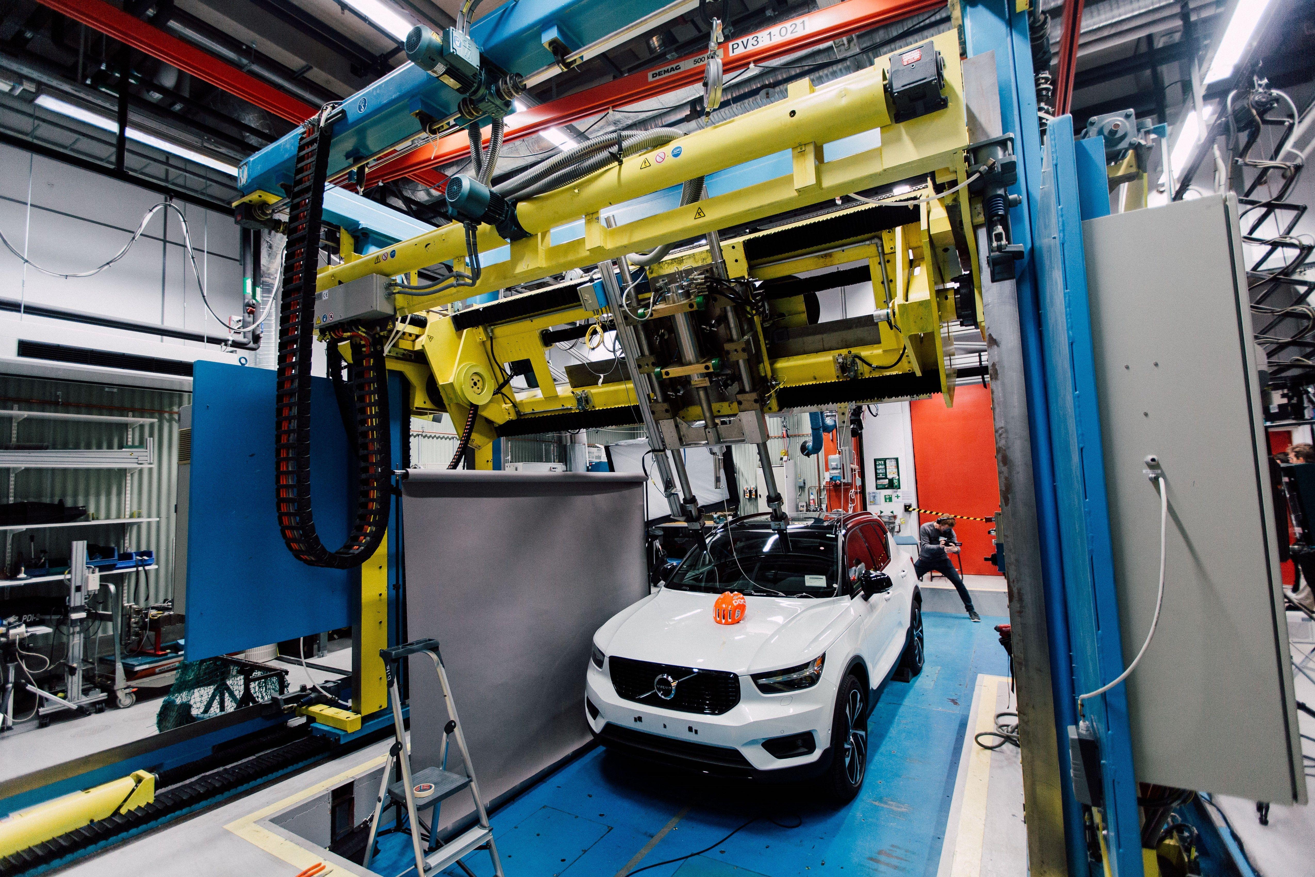 Car in building crash tests