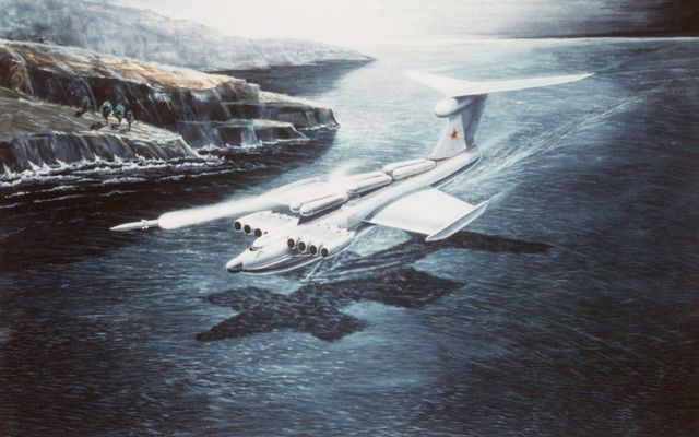 a hand sketched illustration  an artist's concept of a soviet wing in ground effect vehicle