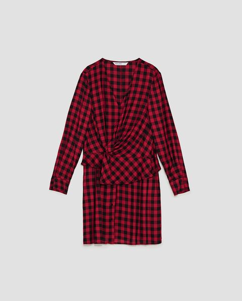 Plaid, Clothing, Pattern, Tartan, Sleeve, Red, Textile, Design, Outerwear, Day dress,