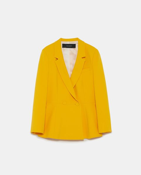 Clothing, Outerwear, Yellow, Blazer, Jacket, Sleeve, Button, Collar, Top, Coat,
