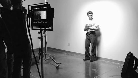 Film studio, Photograph, Filmmaking, Standing, Studio, Photography, Black-and-white, Sound stage, Stock photography, Room,
