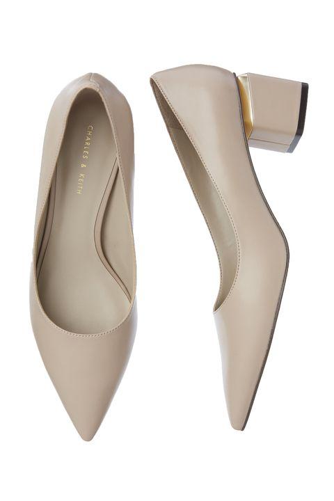 Footwear, Court shoe, Shoe, Beige, High heels, Slingback, Bridal shoe, Basic pump, Leather,
