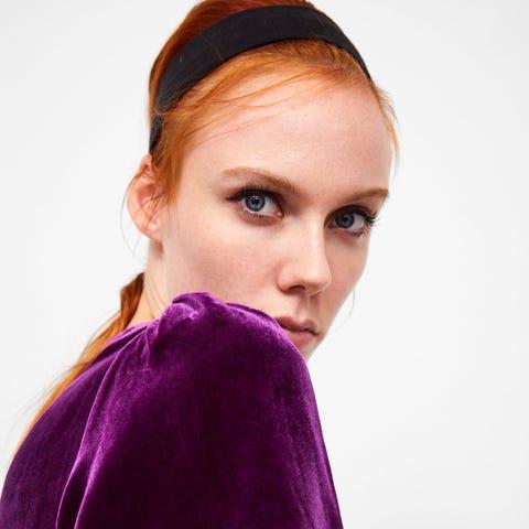 Purple, Violet, Velvet, Beauty, Shoulder, Magenta, Fashion, Lip, Textile, Outerwear,