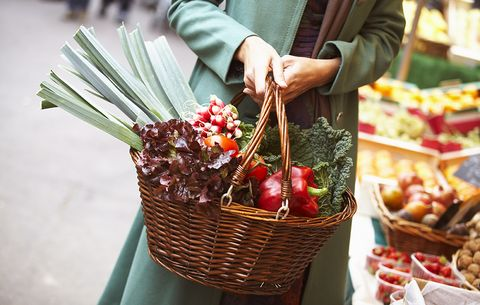 Woman shopping with a basket of vegetables