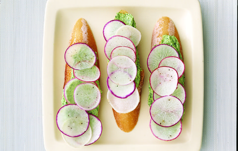 Radish Sandwiches with Cress Butter