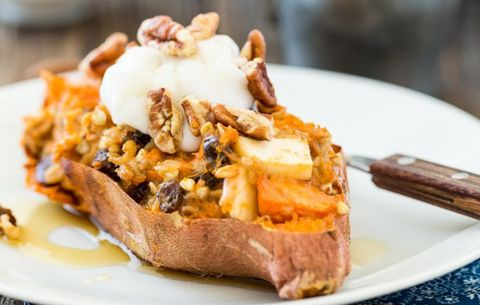 twice baked oatmeal stuffed sweet potato