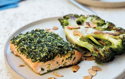 One-Pan Herb-Crusted Roasted Salmon with Roasted Broccoli Steaks