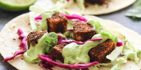 crispy blackened tofu tacos