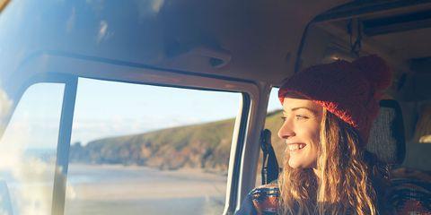 woman relaxing road trip